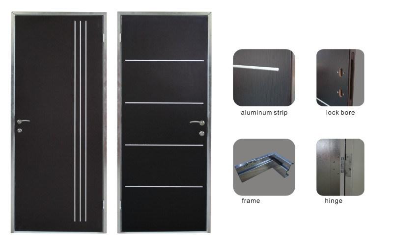 China Decorative Aluminium Strips Inserted Residential Interior Steel Metal Security Door