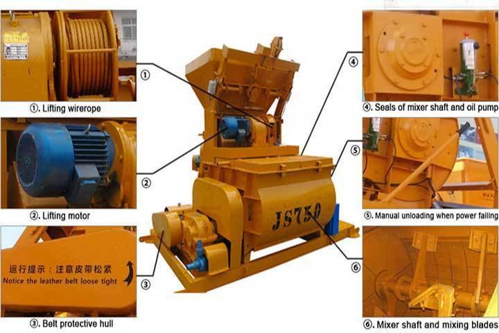 Js750 Twin Shaft Compulsory Concrete Cement Mixer