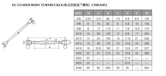 Stainless Steel Turnbuckle DIN1480 M16 Turnbuckle