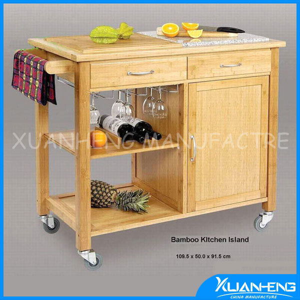China lipper international bamboo kitchen trolley with for Bamboo kitchen cabinets australia