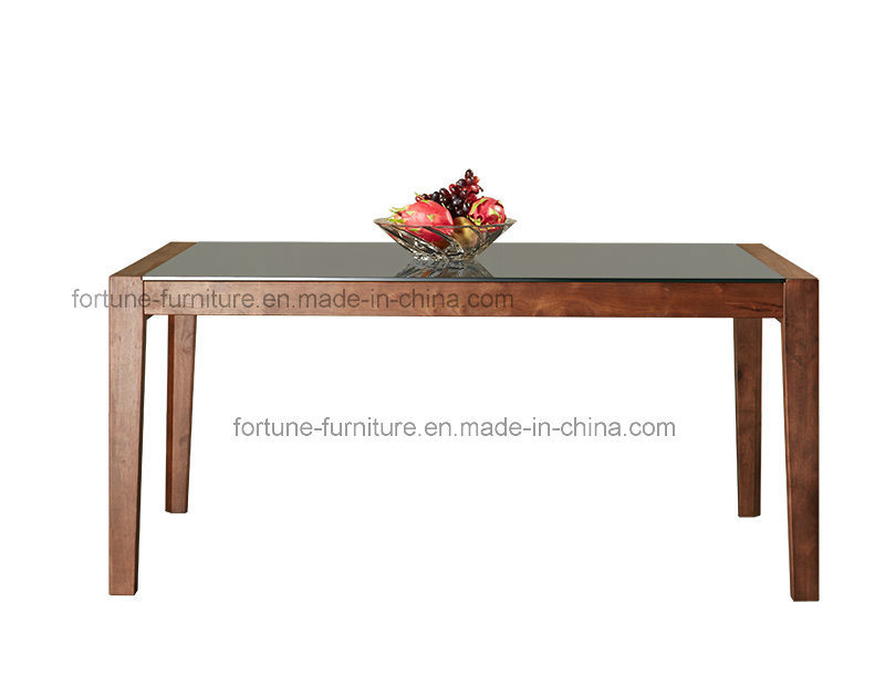 china solid wood dining table with tempered glass top camel 601