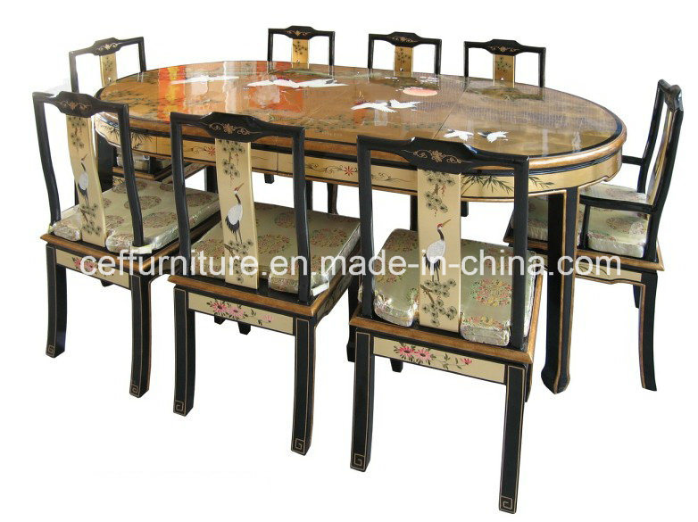Lacquer art home chinese dining room set chair table