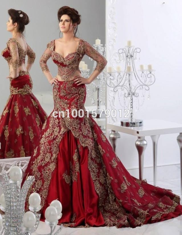 China Red Lace Mermaid Bridal Dresses Long Sleeves Wedding Gown ...