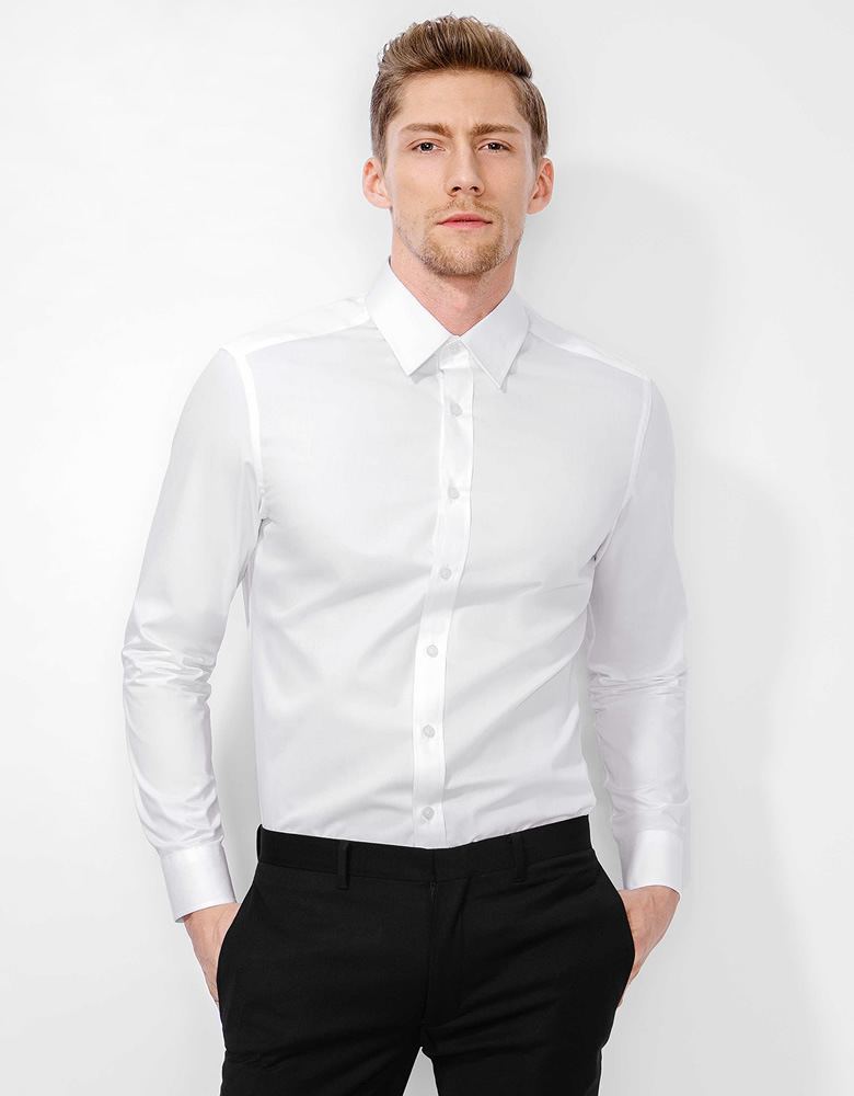 China tailor made men s fashion slim fit non iron white for Slim fit non iron dress shirts