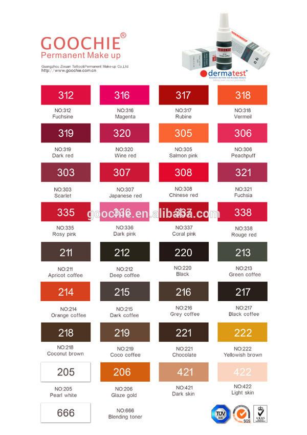 China Goochie Tattoo Ink Permanent Makeup Pigment - China
