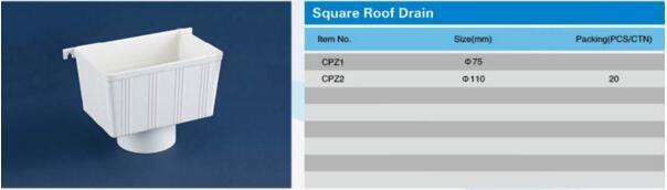 China Pvc Drainage Pipe Fittings Square Roof Drain China