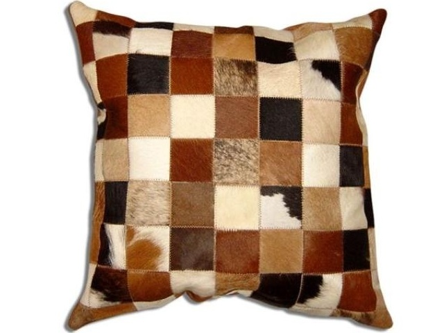 China Natural Leather Cowhide Patch Pillow Covers China