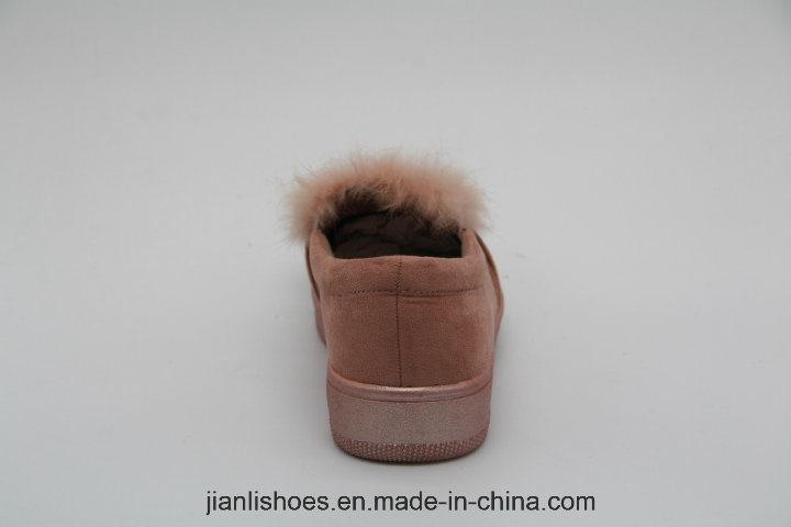 Popular Fashionable Soft Fur Wool Sandal with Lovely Rhinestone Decoration (FL305)