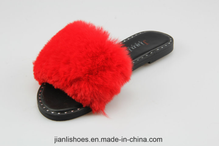 2018 Classic Women Shoe Flat Slipper with Soft Fur (FSL005)