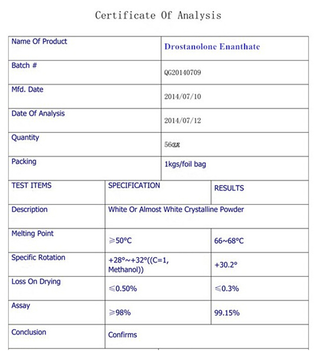 Natural Drostanolone Enanthate Polvos Esteroidales Crudos / Polvos Drolban para el Ciclo del Culturismo CAS 472-61-145