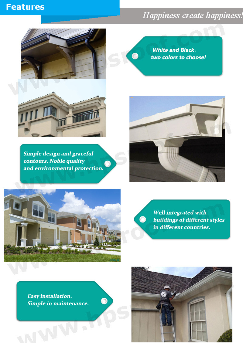 China Pvc Gutter Water Downpipe Roof Gutter System China