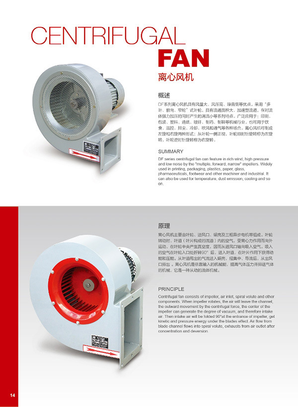 Industrial Centrifugal Fan for Packing Machine