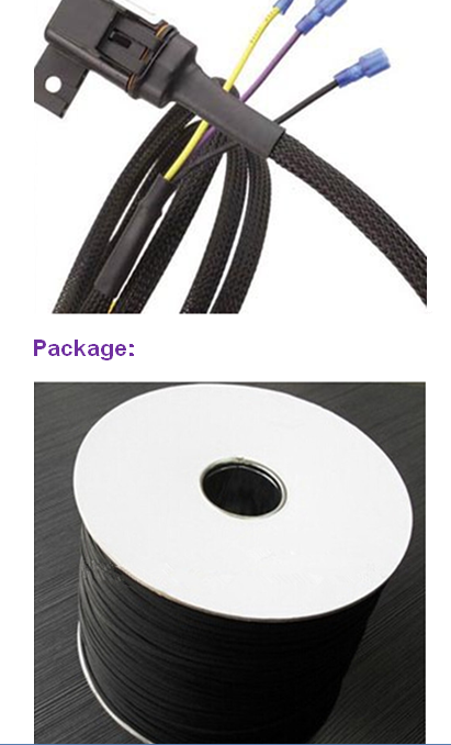 wire harness black pet expandable braided cable cover unissense com wire harness black pet expandable braided cable cover