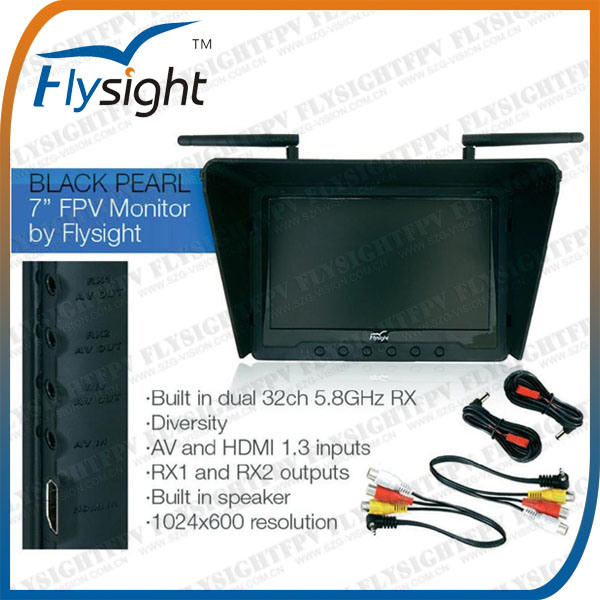 A1 Flysight Black Pearl 7 Inch Fpv HDMI Monitor Dual 5.8GHz Diversity 32CH Rx for Dji Phantom 2 Vision