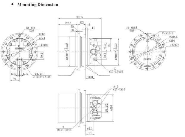 china hydraulic piston travel motor  with reducer