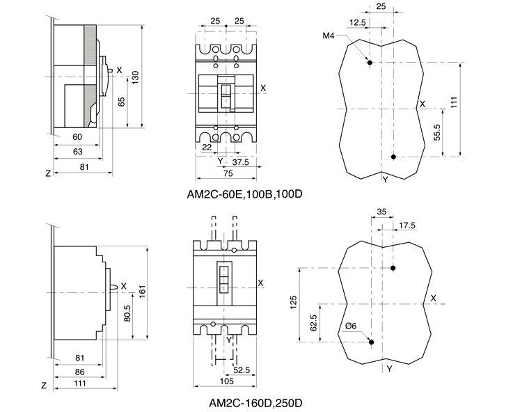 100a mccb 4 interruptor bipolar circuito el u00e9ctrico  am2c