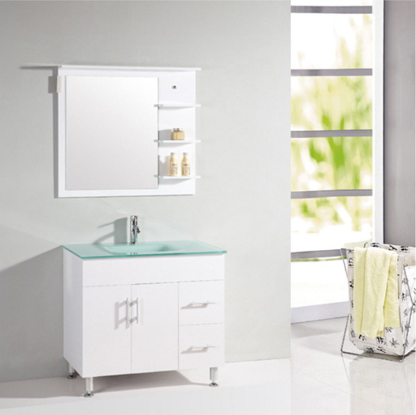 China floor standing vanity white mdf bathroom furniture for Floor standing bathroom furniture