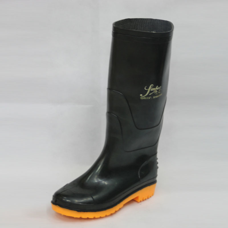 China Work Rain Boots (Black upper/Yellow Sole) - China Shoes, Boots