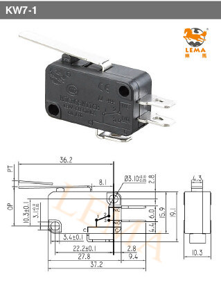 Lema Kw-7-1 Three Quick Connect Terminals 4.8*0.8mm Micro Switch