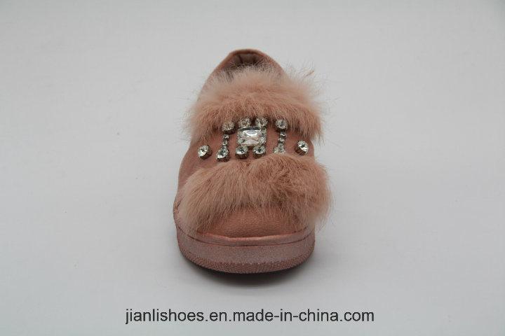 Популярная модная мягкая меховая шерстяная сандалия с прекрасным украшением горного хрусталя (FL305)
