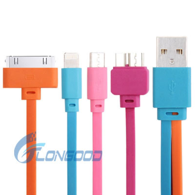 4 in 1 (Colorful Micro 5 Pin USB 2.0 / 3.0 + 30 Pin Charge Cable + Lightning 8 Pin Sync Cable) for iPhone iPad Samsung