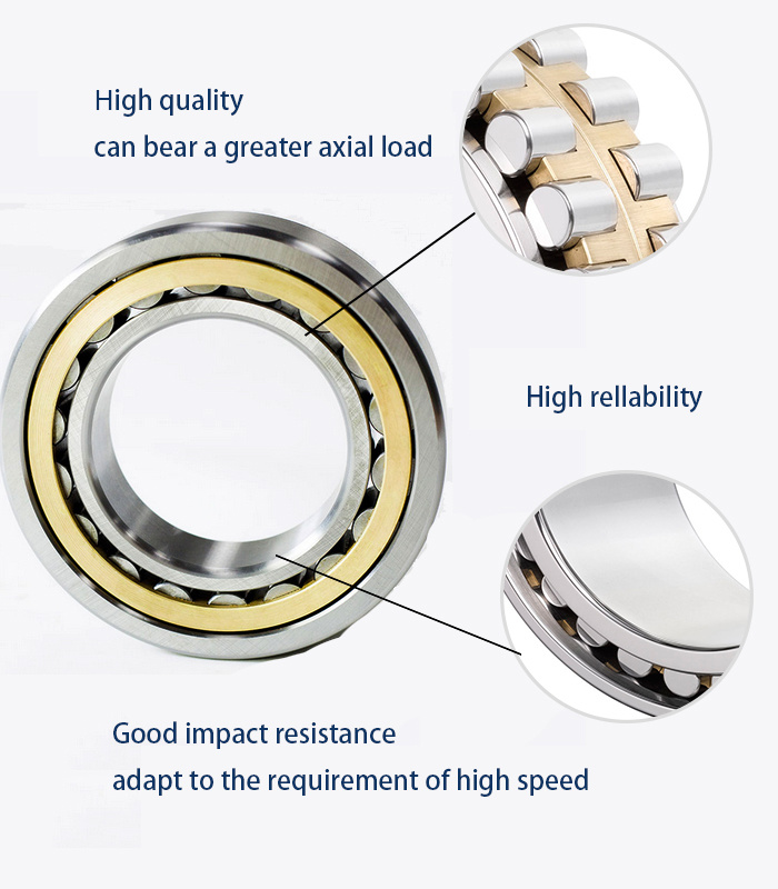Nu/Nj/Nup/N/NF Type Single Row with Pressed Steel Cage Cylindrical Roller Bearing