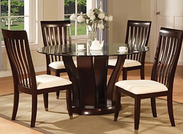 Tapa de cristal de abedul mesa de comedor y sillas de for Sillas de comedor elegantes