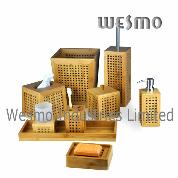 China hollowed out bamboo bathroom set wbb0328a china for Bathroom accessories hs code