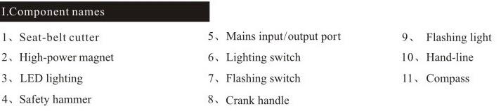 Multifunctional Survival Tool, Vehicle-Mounted Emergency LED, Outdoor Flashlight (XLN-703B)