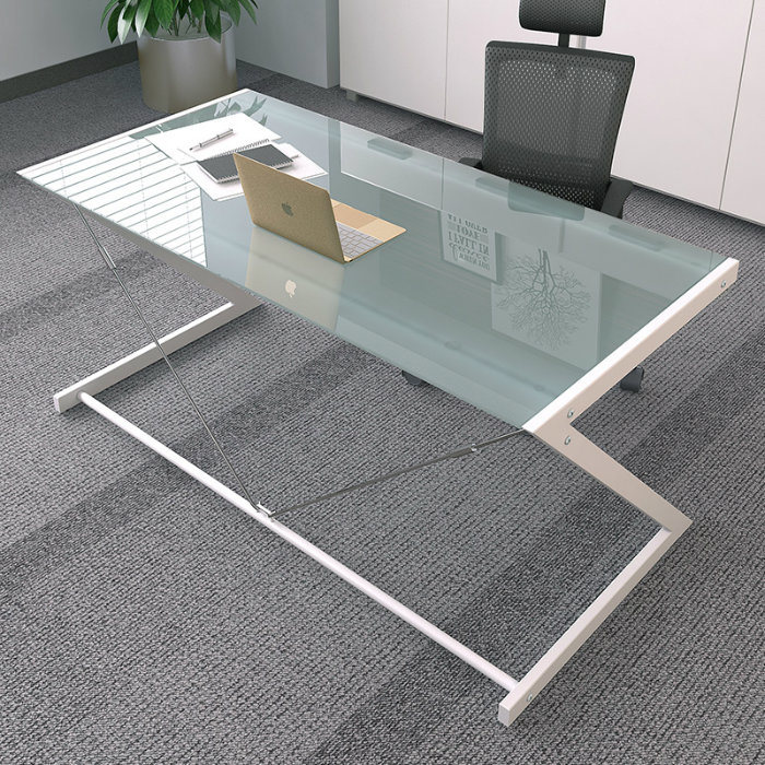 China Tempered Glass Computer Desk With Z Shaped Metal In