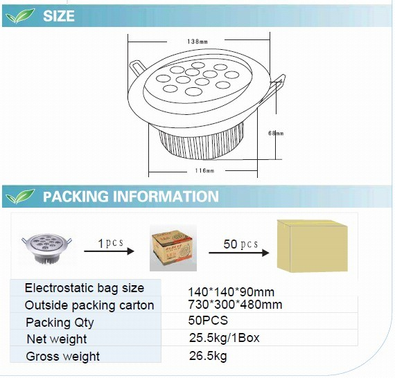 12W LED Ceiling Light with CE RoHS (GN-TH-CW1W12)