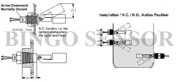 mini interruptor de flotador de nivel para el tanque de