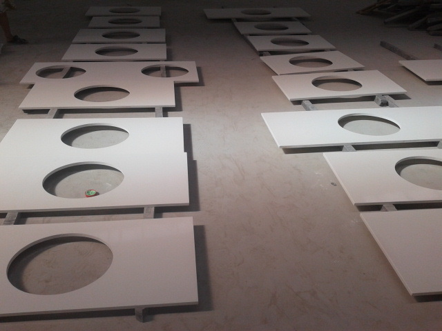 L Shape White Quartz Vanity Top And Countertop For Kitchen