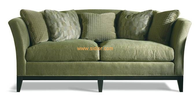 (CL-6609) Classic Hotel Restaurant Lobby Furniture Wooden Fabric Leather Sofa