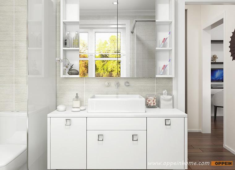 Module blanc haute brillance moderne de vanit de salle for Module salle de bain