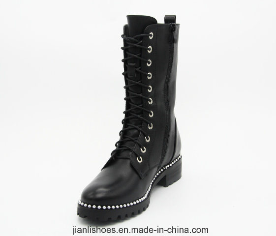 Classic Ankle Boots Lady Shoes with Shoelace Decoration (AB654)