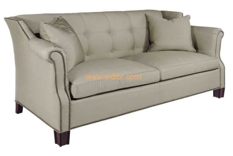 (CL-6608) Classic Hotel Restaurant Lobby Furniture Wooden Fabric Leather Sofa