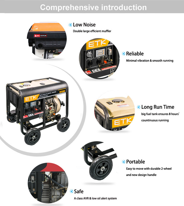 Max Output 6kw Diesel Generator Set (ETK Brand)
