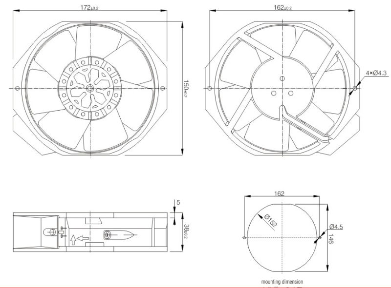 Aluminum Alloy Frame AC Axial Fan 172*150mm (FJ14532MAB)