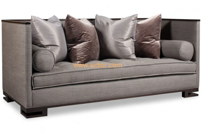 (CL-6613) Classic Hotel Restaurant Lobby Furniture Wooden Fabric Leather Sofa