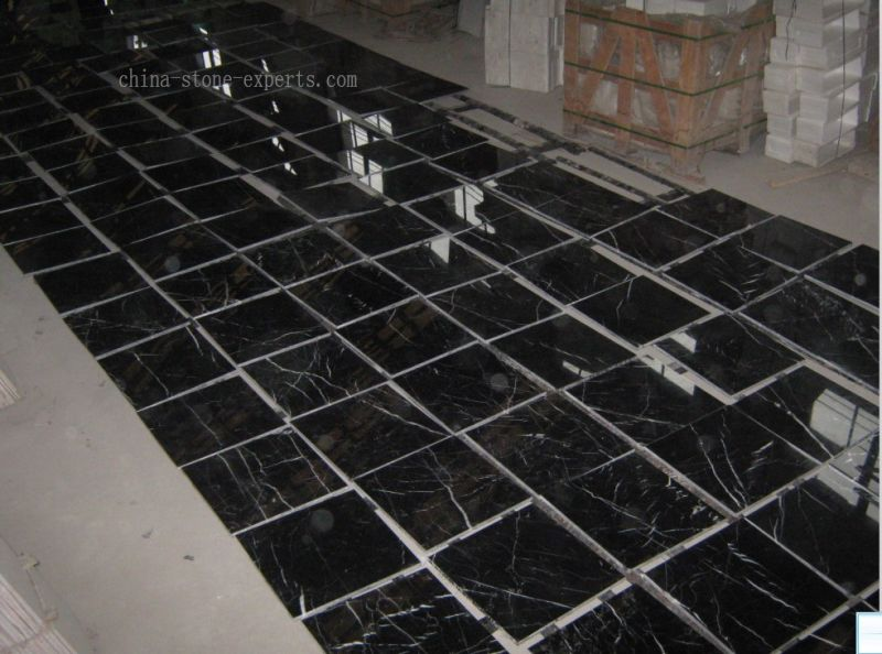 China Polished Black And White Black Marquina Marble