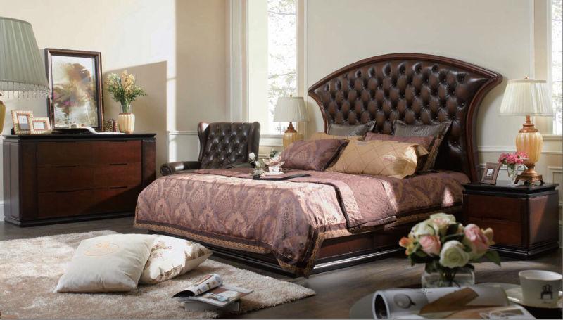 Meubles en cuir classiques de luxe de chambre coucher for Set de chambre a coucher