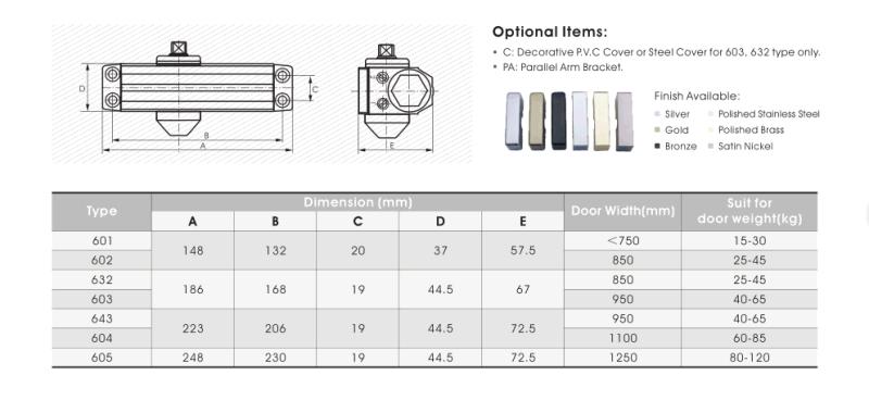 Adjustable Aluminium Door Closer (603) for Fire-Proof Door&UL&Ce