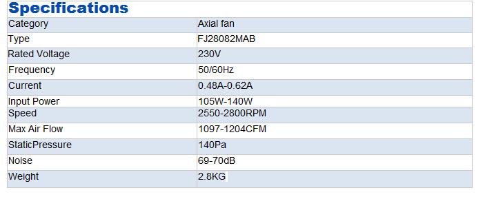 Metal Blade Cooling Fans (FJ28082MAB)