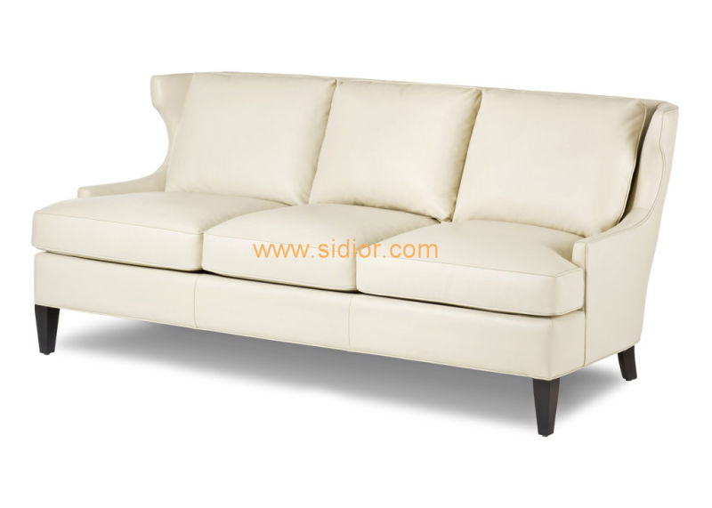 (CL-6610) Classic Hotel Restaurant Lobby Furniture Wooden Fabric Leather Sofa