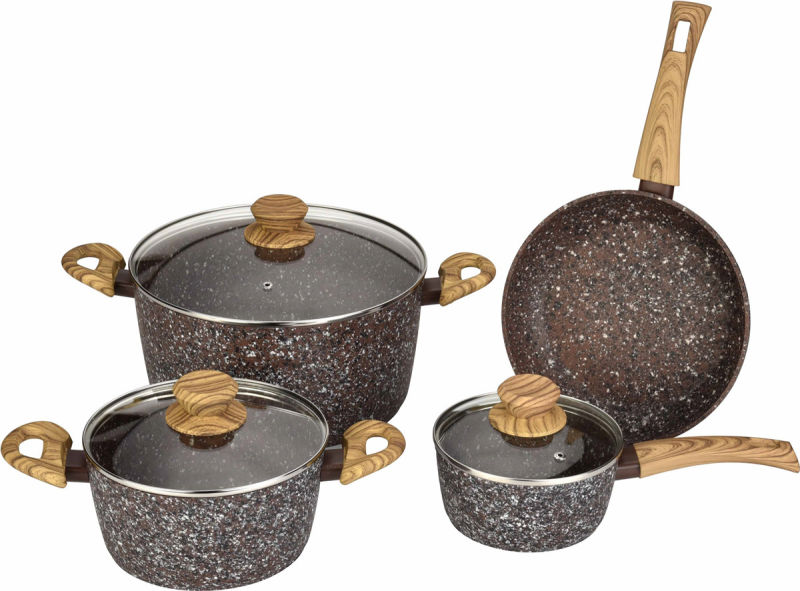 China Stone Look Forged Aluminum Pots And Pans With Wood