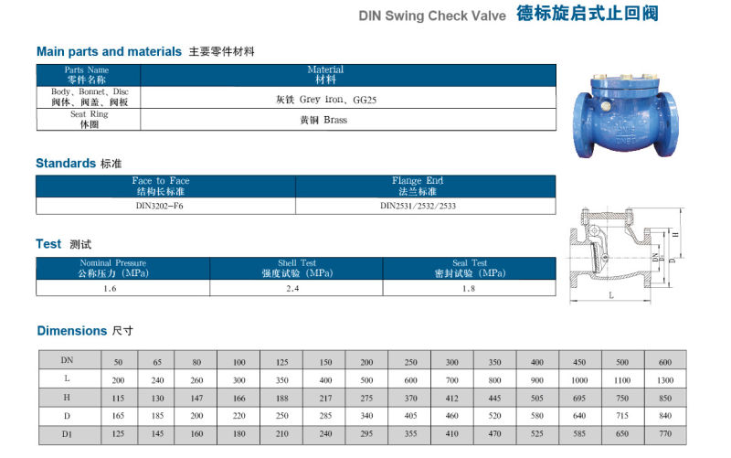 DIN Swing Check Valve Type