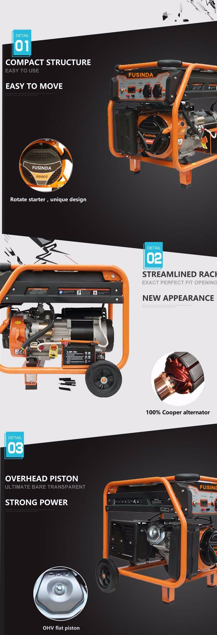 3 kVA Portable Gasoline Generator with Key Starter