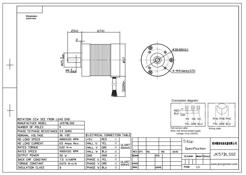 china brushless dc motor 36v 4800rpm 57bls02 round motor