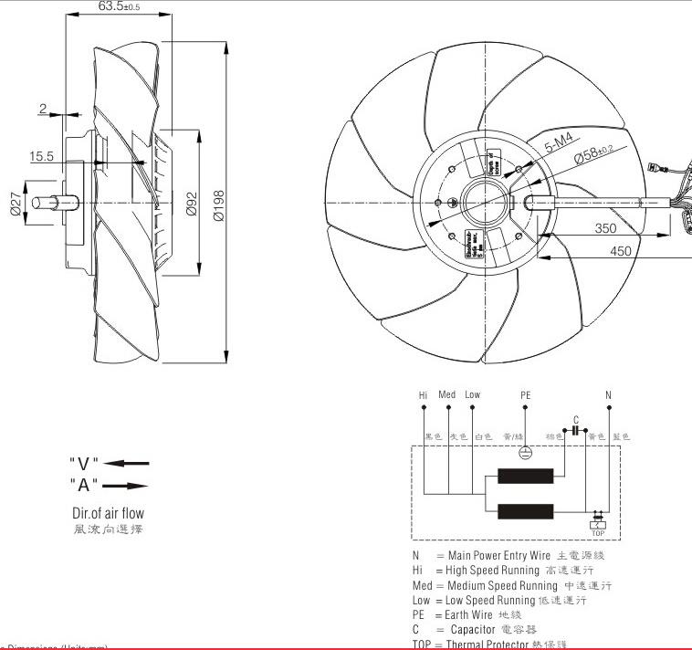 Axial Fan Motor 200mm (FJ2E-200. TSV)